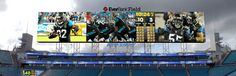 The World's Largest HD LED Display Takes Over Jacksonville, Florida.  Each billboard is longer than the field itself, standing 60 feet tall by 362 feet wide and providing stadium staff 21,700 square feet of digital canvas—that's 35.5 million individual pixels or a resolution of 14,000 x 8,456 pixels.