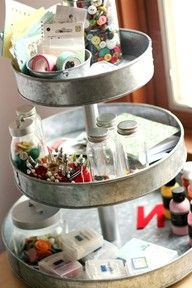 DIY - cake pans with candlesticks in between to create extra storage space in your craft room Space Crafts, Home Crafts, Diy Crafts, Craft Space, Craft Desk, Fall Crafts, Craft Room Storage, Craft Organization, Scrapbook Organization