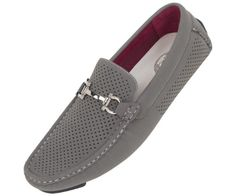 Amali Mens Driving Moccasin Loafer in Grey Perforated Brushed Smooth with Silver Horse Bit Ornament in Grey: Style 1475 Grey-011 - http://shoes.goshopinterest.com/mens/loafers-mens/amali-mens-driving-moccasin-loafer-in-grey-perforated-brushed-smooth-with-silver-horse-bit-ornament-in-grey-style-1475-grey-011/