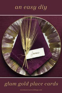 Make these glam gold place cards for your wedding! | Martha Stewart Weddings
