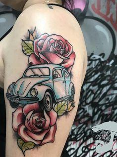 Old Cars Vintage Tattoo Ideas Vw Tattoo, Beetle Tattoo, Car Tattoos, Flower Tattoos, Body Art Tattoos, Tatoos, Vintage Cars For Sale, Remembrance Tattoos, Pokemon Tattoo