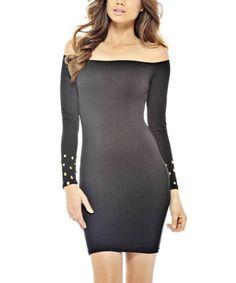 Look at this #zulilyfind! Black Long-Sleeve Off-Shoulder Sheath Dress #zulilyfinds