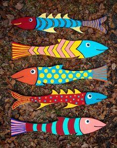 Fish Wall Decor, Fish Wall Art, Fish Art, Fish Crafts, Beach Crafts, Folk Art Fish, Wood Plank Art, Watercolor Fish, Wood Fish