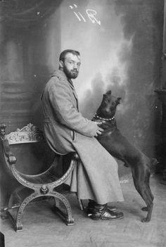 Early Vintage Doberman Dog Photograph
