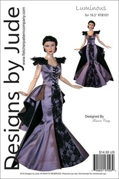 """Opulent Gown Doll Clothes Sewing Pattern for 16.5/"""" RTB101 Claire Rayne Tonner"""