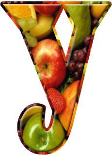 Alfabeto Decorativo: Alfabeto - Frutas - PNG