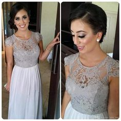 2015 New Gorgeous Bridesmaids Dresses Jewel Neck Lace Short Sleeve For Wedding Silver Gray Chiffon Sheer Long Bridesmaid Dress Under 100 Online with $89.01/Piece on Yes_mrs's Store | DHgate.com