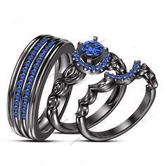 1.7 Ct Blue Sapphire His Her Wedding Trio Ring Sets In 14k White Gold 925 Silver #aonejewels