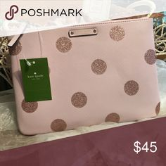 Kate Spade Gia Chester Clutch Kate Spade Clutch measures 7.5 x 10.5 pink with sparkly polka dots! kate spade Bags Clutches & Wristlets