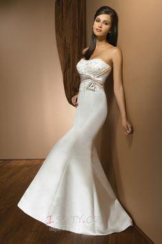 slonová+kost+Satén+Bez+rukávů+Výšivka+Sál+Mořská+panna+Svatební+šaty