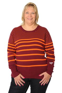 a6f91607d Virginia Tech Hokies Plus Size Maroon and Orange Sweater. University Girls  Apparel