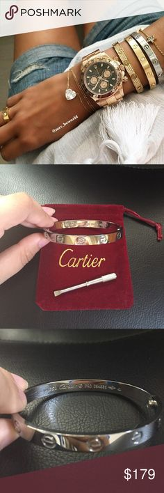 Cartier Silver Love Bracelet Brand new, perfect condition, no scratches, Cartier Love bracelet in silver! no trades or low balling, comments/offers like that will be ignored Bracelet comes with dust bag and Cartier screw, ships same/next day! Price reflects authenticity, this is the best replica you'll find and can barely tell the difference compared to a real Cartier as shown in the last pic! Interested? Make an offer(: Cartier Jewelry Bracelets
