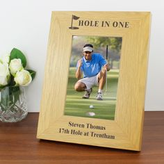 Personalise this 6x4 Oak Finish Golf Photo Frame with 1 line of a text above the…