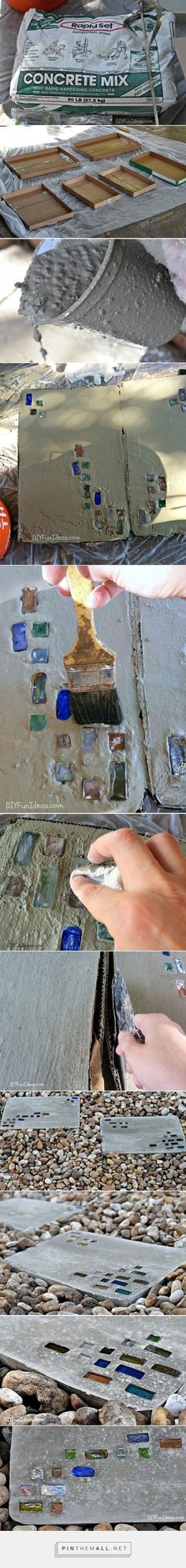 DIY MODERN GEOMETRIC CONCRETE STEPPING STONES with A LITTLE BLING.