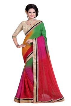 This saree from the house of Sweetiepie Fashion is made from Georgette and is Raani in colour. The saree has been designed keeping in mind the latest trends in fashion when it comes to dressing up at par for a casual evening Georgette Sarees, Silk Sarees, Saree Shopping, Designer Wear, Designer Sarees, Saree Collection, Sarees Online, Fashion Prints, Latest Fashion Trends