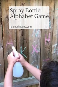 The spray bottle alphabet game is a perfect outdoor activity to help kids learn their letters of the alphabet while improving fine motor skills! So fun! 3 Year Old Activities, Fine Motor Activities For Kids, Motor Skills Activities, Water Games For Kids, Outdoor Activities For Kids, Alphabet Activities, Kids Learning, Fun Activities, Outdoor Fun For Kids