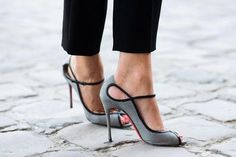 grey and black edged heels