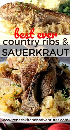 BEST EVER Country Ribs with Sauerkraut by Renee's Kitchen Adventures will turn your country ribs into a delicious dinner with tender, moist, fall off the bone ribs nestled in sweet and sour sauerkraut! This one is sooooo good. Country Ribs Recipe, Country Style Pork Ribs, Sauerkraut Recipes, Best Superbowl Food, Tailgating Recipes, Pork Rib Recipes, Slow Cooker Recipes, Bratwurst Recipes, Amigurumi