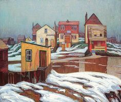Lawren Harris January Thaw, Edge of Town, 1921 Group of Seven Group Of Seven Artists, Group Of Seven Paintings, Paintings I Love, Tom Thomson, Emily Carr, Canadian Painters, Canadian Artists, Art Inuit, Kitsch