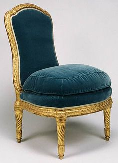 This is a chaise à la reine, they were generally low and comfortably padded. This chair was once part of a fifteen-piece suite of seating furniture acquired secondhand from the upholsterer Claude-François Capin for Louis XVI at the palace of Versailles. Furniture, French Chairs, Luxury Furniture, French Furniture, Velvet Chair, Chair, Side Chairs, Furnishings, Custom Made Furniture