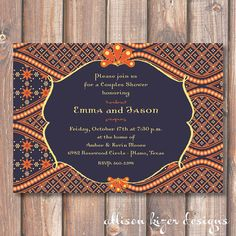 Batik-ish also.. Morocco Printable Wedding Shower Invitation by AllisonKizerDesigns, $15.00