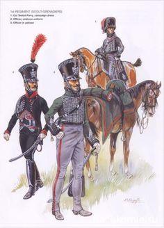 1st Regiment Scout-Grenadiers. Colonel Testot-Ferry, campaign dress. Officer undress uniform. Officer in pelisse.