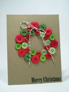 cute for Christmas card Homemade Christmas Gifts, Homemade Gifts, Christmas Fun, Holiday Fun, Christmas Cards, Button Cards, Card Making, Scrapbook Layouts, Archive