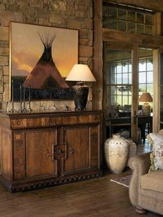 Beautiful rustic western table vignette. Perfect western decorating inspiration. | Stylish Western Home Decorating - LOVELOVELOVE the teepee picture