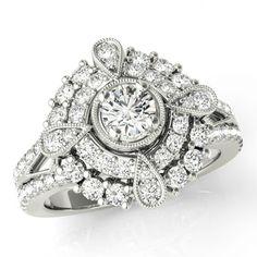 Forever Brilliant Moissanite & Diamond Vintage Inspired Engagement Ring - Forever Brilliant Moissanite Antique Rings - Art Deco Designs - Designer Jewelry - Wedding Rings - Anniversary Gifts