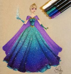 """""""And finished I'm really happy with how this turned out and can't wait to start drawing another princess....probably Ariel This is inspired by…"""""""