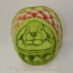 Easter bunny watermelon carving with fancy trim