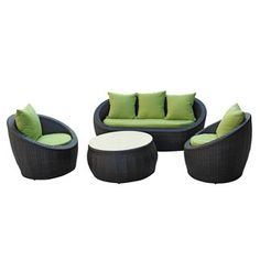love this patio furniture! Avo 4-Piece Set Green now featured on Fab.