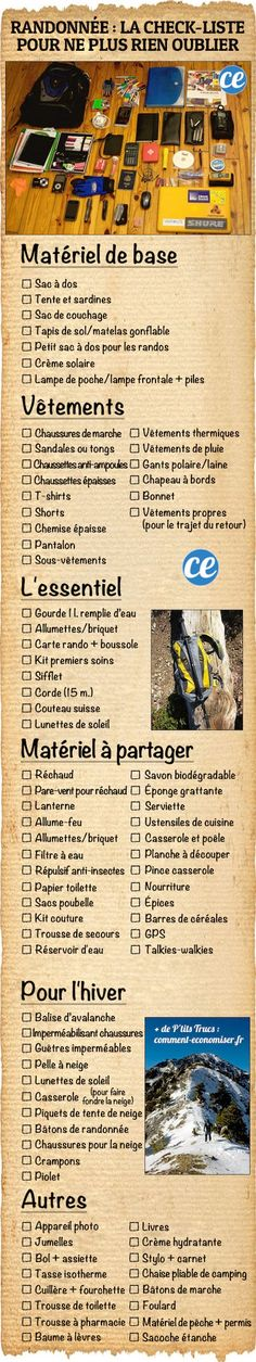 What to take for a hike The essential checklist to never forget anything again Bushcraft Camping, Camping Survival, Go Camping, Survival Tips, Camping Hacks, Outdoor Camping, Camping Hammock, Camping Ideas, Camping Holiday
