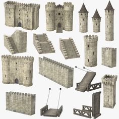 castle set model for game. Castle Parts, Castle Drawing, Pumpkin Decorating Contest, Medieval Games, Minecraft Medieval, 3d Printing Business, Isometric Art, Medieval Houses, Château Fort