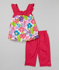 Love this Fuchsia Floral Bubble Top & Capri Pants - Toddler & Girls on #zulily! #zulilyfinds