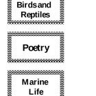 Classroom library labels for primary grades.  Includes:  Birds and Reptiles                 Marine Life                 Insects and Spiders        ...