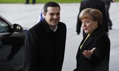 German Chancellor Angela Merkel (R) welcomes Greek Prime Minister Alexis Tsipras as he arrives at the chancellery in Berlin, on March 23, 2015. AFP PHOTO / TOBIAS SCHWARZTOBIAS SCHWARZ/AFP/Getty Images