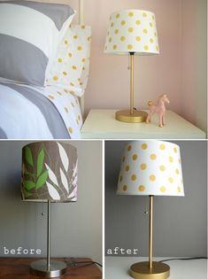 How about a custom lamp and lampshade that doesn't cost a fortune?  You can do it!  I gave an old lamp new life with a coat of metallic gold paint and a new custom shade.  I rec...