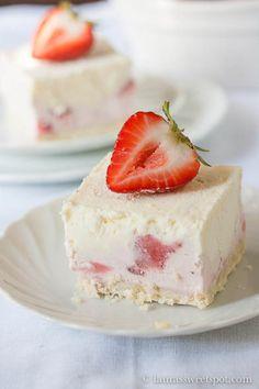 Frozen White Chocolate Strawberry Dessert