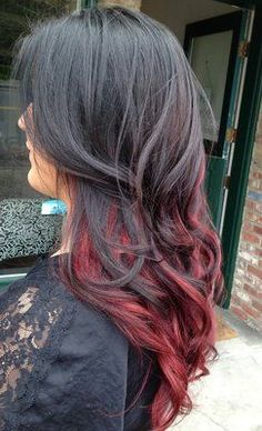 red ombre hair color, must do ! Red Ombre Hair, Ombre Hair Color, Hair Colors, Dark To Red Ombre, Red Hair Ends, Auburn Ombre, Violet Hair, Purple Hair, Deep Purple