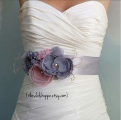 Bridal Sash Belt - Grey and Pink Bridal Belt Wedding Dress Sash - Romance. $79.00, via Etsy.