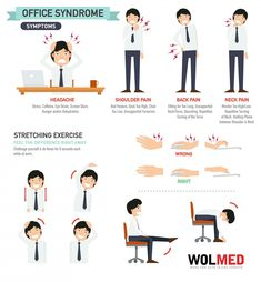Infographic: Simple Stretching Exercises To Get Rid Of Workplace Ailments Back Exercises, Stretching Exercises, Chair Exercises, Treatment For Back Pain, Office Exercise, Office Yoga, Desk Workout, Web Design, Bad Posture