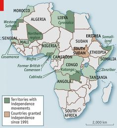 African Secession Movements, 1991-Present, from the Economist #map #africa