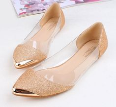 Transparent Gold Sequin Pointed Shoes