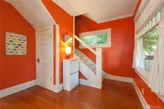 paint colors-- bright orange. 1912 capitol hill tiny house. OK for small space--closet, basement, attic.