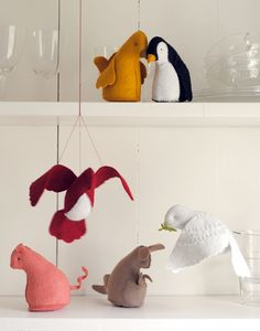 A pensive penguin, a peaceful dove, a perky pig, these amazing felt animal kits from Cynthia Treen