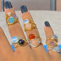 Wire Jewelry Rings, Handmade Wire Jewelry, Nail Jewelry, Cute Jewelry, Crystal Jewelry, Jewelry Accessories, Jewelry Design, Jewlery, Cute Rings