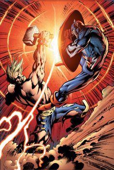 Captain America vs. Thor by Alan Davis