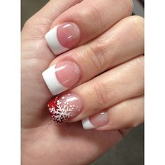 Holiday Nails....French tips with snowflake❄️on ring finger. I love my... ❤ liked on Polyvore featuring beauty products and nail care