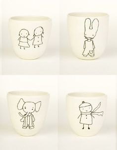 what sweet mugs, based on a child's drawings
